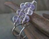 Faceted Lilac Amethyst - Sterling Silver Elegant Curvy Hoops