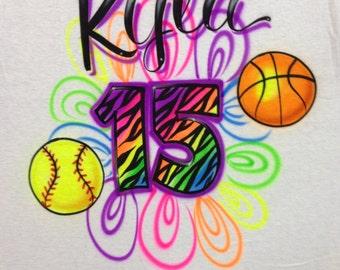 Airbrushed Rainbow Basketball Softball with Name & Zebra Number size  S M L XL 2X Airbrush Shirt Soccer Ball