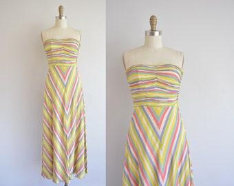40s chevron stripe dress - 1940s strapless chiffon dress - vintage 1940s dress
