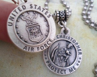Air Force Protection Necklace, St Christopher, Mens Protect Me Holy Medal, Baptism Gift, Catholic Jewelry