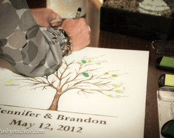 xx SMALL (Jennifer and Brandon) Wedding Thumbprint Tree - Watercolor - SEPIA or Gray  TONE Giclee Print  for Up to 80 guests: 11'' x 14''