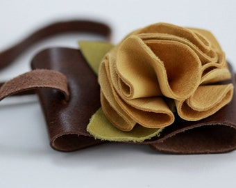 Yellow Lambskin Leather Flower Cuff Bracelet