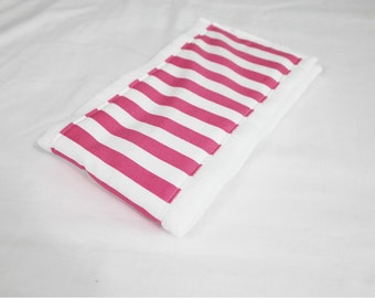 Pink and White Striped Baby Burp Cloth