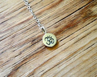 Tiny Sterling Silver Om Charm Necklace