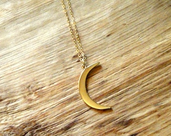 Large Crescent Moon Charm on 14K Gold Filled Necklace