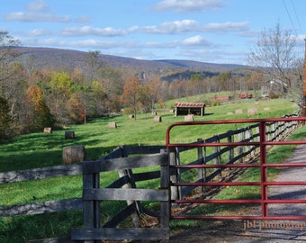 "Landscape Photography, Farm, Rolling Hills, Red Gate, Countryside, Rural, ""Sunday Walk"",  Autumn, Lane, Fences, Small Farm, Country, Rustic"
