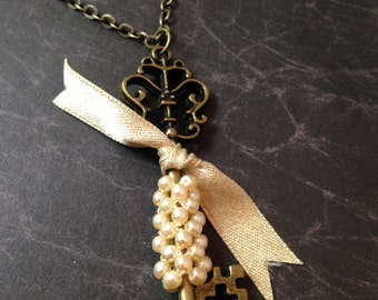 Antiqued Brass Beaded Victorian Key Necklace