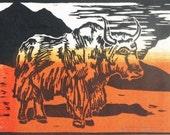 Yak (Orange or Gray) - Original Woodblock Print