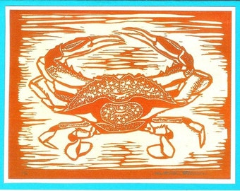 5 Crab Notecards on Turquoise or Green