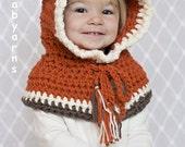 FOX Hat Crochet Knit Fox HOODIE Cape Fox Scarf Cowl Baby Hat Fox Fashion Children Preteen Kids Unisex The Perfect Gift Handmade by BABYARNS