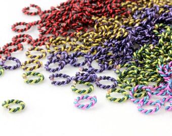2 Color Twisted Enameled Copper Jumprings - Size Medium 5mm ID - Pack of 50 Jumprings