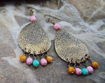 Pastel Beaded Teardrop Earrings, Boho Flower Etched drops with Beaded Dangles, Pink Goldenrod Green Turquoise - Bohemian Earrings