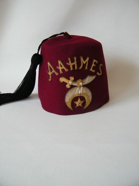 Vintage Shriners Masonic Fez Hat AAHMES Order Egyptian