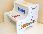 Large Personalized Two Step Stool with Baseball Football Hockey Golf Basketball Soccer and Tennis