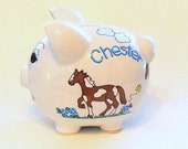 Personalized Piggy Bank Horses