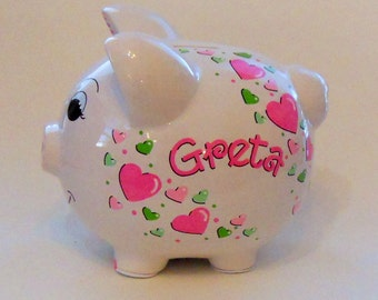 Pink and Green Hearts Personalized Piggy Bank