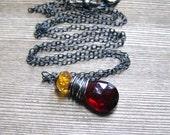 Garnet And Citrine Necklace, Oxidized Sterling Silver, Madeira Citrine, Mozambique Garnet, January Birthstone, November Birthstone Jewelry