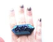 Blue Titanium Quartz Crystal Ring One of a Kind