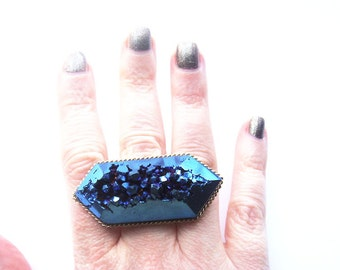 Blue Titanium Quartz Crystal Ring One of a Kind