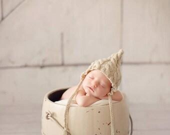 Newborn photo prop, newborn hat, newborn boy, newborn girl, newborn knit bonnet prop ,newborn props Newborn cable bonnet. Choose your color