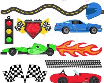 Lets Go FAST Cute Digital Clipart - Commercial Use OK - Racing Clipart, Race Graphics, Checkered Flag, Fomula One, Stock Car