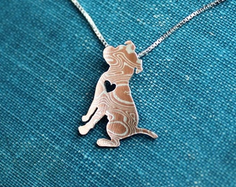 Pit bull, Mokume Gane, sitting down hand cut necklace and pendant