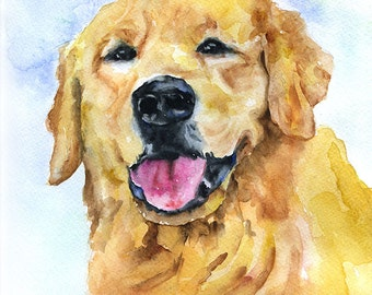Watercolor Painting Golden Retriever Original Art - Yellow Lab Golden Retriever - Dog Painting 9 x 12