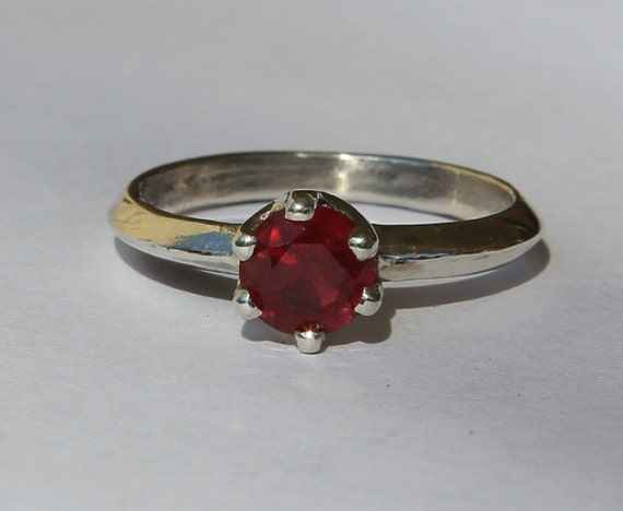 Classic Dark Red Ruby 1.25 ct Solitaire Sterling Silver Ring SZ 7