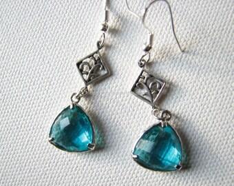 Crystal earrings | teal | silver | blue dangle