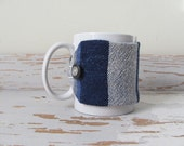 Blue Stripe Java Jacket, Coffee Mug Cozy, Large Cup Sleeve, Mocha Cafe Cocoa Tea Mug Wrap, Foodie Gourmet Office Eco Living Home, Handwoven