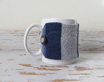 Blue Coffee Mug Cozy, Large Cup Sleeve, Gourmet Mocha Cafe Cosy Cocoa Tea Mug Wrap, Nautical Coastal Beach Decor Navy Blue Java Jacket Gift
