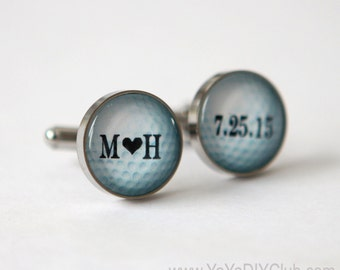 Personalized wedding gift for groom, golf cufflinks Custom Personalized wedding date initials - gift for groom, anniversary gift,golf lovers