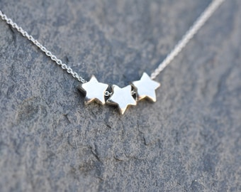 3 Stars Necklace - Sterling Silver chain with three silver star charms, three star necklace, three silver stars necklace