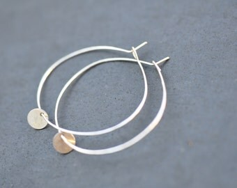 Tiny sterling silver coin charm on delicate sterling silver hoop earrings, everyday hoop earrings
