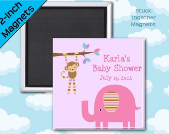 Baby Shower Favors - Magnets - Pink Safari Animals - 10 Personalized Favor Magnets - 2 Inch Squares
