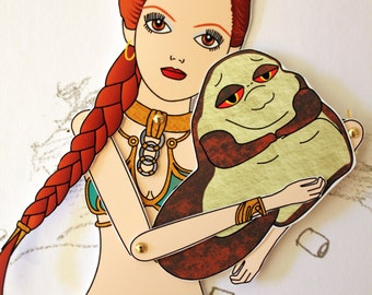 Leia Organa Star Wars princess slave Jabba the Hutt tribute fan art paper doll assembled articulated Carrie Fisher