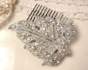 Antique Art Deco Bridal Hair Comb, Art Nouveau Wedding Hair Accessory, Vintage Rhinestone Silver Fall Leaf 1920s Dress Clip Hairpiece Rustic