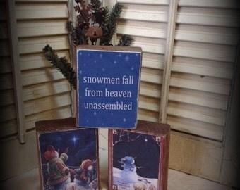 Set of 3 Primitive Holiday Christmas Wood Blocks featuring Snowman Prints Heaven print HaFair Ofg STATTEAM CIJ HDM TeamVintageUSA CIJ2015