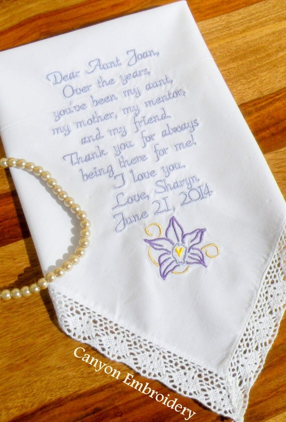 Wedding Gift Ideas Embroidered : Wedding Gift Embroidered Wedding Handkerchief Wedding Gift for Auntie ...
