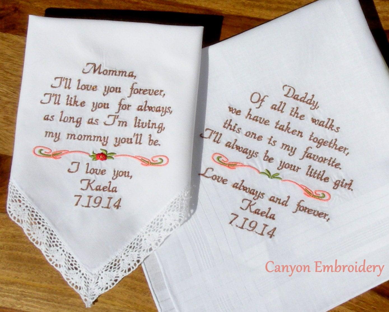Wedding Handkercheif Embroidered Wedding Handkerchiefs