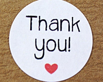 THANK YOU! with red heart - casual rounded print -  white circle sticker labels - packaging, gift wrapping, cards