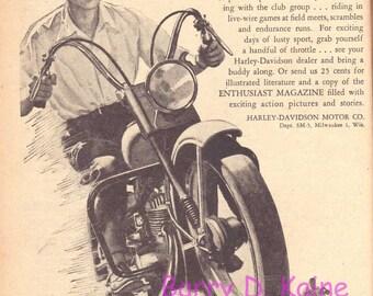 Vintage Harley Davidson ad 1952 print 721