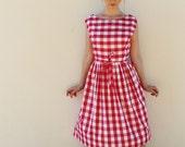Handmade Red White Gingham Summer Picnic Wrap Midi Dress