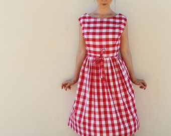 Handmade Red White Gingham Summer Picnic Wrap Midi Dress