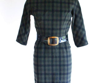 50s dress - 1950s wool plaid day dress - wiggle dress - xs