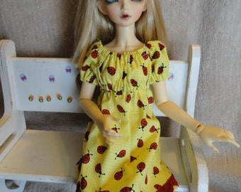 MSD BJD  Chemise Dress and Bloomers Yellow/Lady Bugs