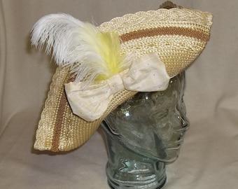 Gold Pirate Hat - Straw and Brocade Tricorn