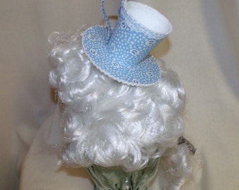 Teacup Fascinator- Blue and White Flowered Teacup Headband- Mini Hat