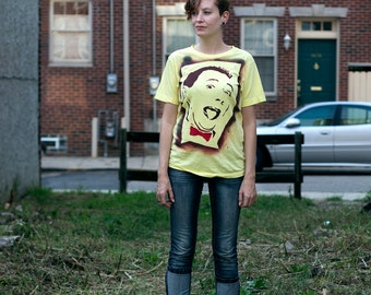 Ode to Pee Wee Herman t-shirt stencil art tshirt spray painted by Rainbow Alternative