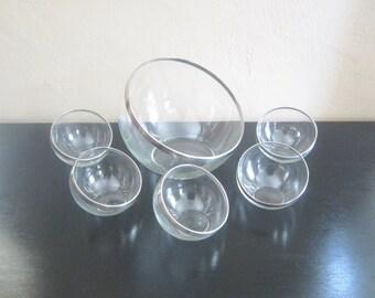 Mid Century Orb Silver Rim Glass Bowl Set